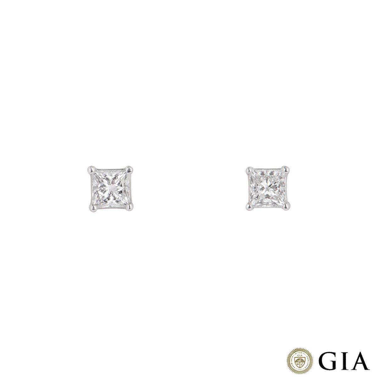 Princess Cut White Gold Diamond Earrings 0.70ct/0.72ct F/VS1